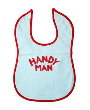 Buzzy Cotton Baby Bib Handy Man Print - Light Blue