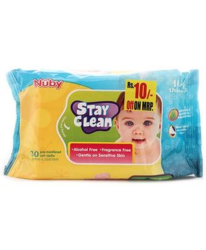 Nuby Stay Clean Baby Wipes - 30 Pieces