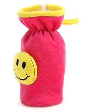 Babyhug Plush Bottle Cover Smiley Motif Large - Pink