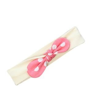 awerganic Organic Cotton Cloth Headband With Bow - Pink and Cream