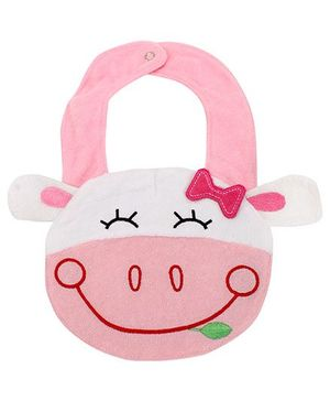 Fab N Funky Bib with Animal Shape and Snap Button Closure - Pink and White