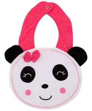 Fab N Funky Bib with Panda Face Shape and Snap Button Closure - Black and White