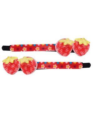 Fab N Funky Hair Clips Strawberry Motifs Red - 1 Pair