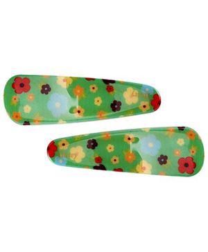 Fab N Funky Tik Tak Hair Clips Floral Print Pack of 2 - Green
