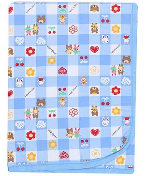 1st Step Baby Mat with Cute Prints - Blue