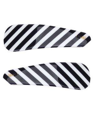 Fab N Funky Black Stripe Hair Clips - Pack of 2