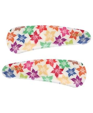Fab N Funky Floral Print Tik Tak Hair Clips - Pack of 2
