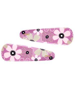 Fab N Funky Tik Tak Hair Clips Floral Print Pack Of 2 - Pink