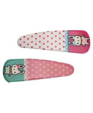 Fab N Funky Hair Clip Dot And Rabbit Print - 1 Pair