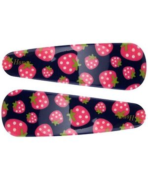Fab N Funky Snap Clips Strawberry Print Navy Blue - 1 Pair