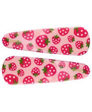 Fab N Funky Snap Clips Strawberry Print Peach - 1 Pair