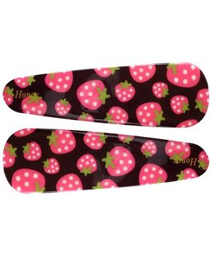 Fab N Funky Snap Clips Strawberry Print Pink And Black - 1 Pair