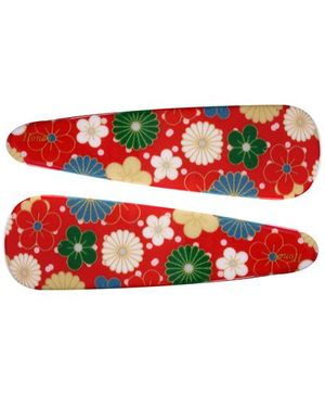 Fab N Funky Multi Colour Flowers Print Snap Clips Red - 1 Pair