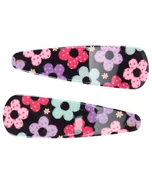 Fab N Funky Flower Print Snap Clips Multicolor - 1 Pair