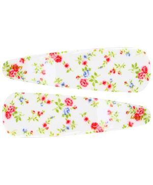Fab N Funky Flowers Print Snap Clips Off White - 1 Pair
