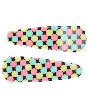 Fab N Funky Circle Print Snap Clips Multi Colour - 1 Pair