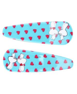Fab N Funky Bunny Love Print Snap Clips Sky Blue - 1 Pair