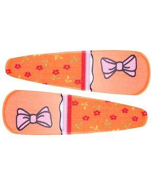 Fab N Funky Bow Print Snap Clips Dark Orange - 1 Pair