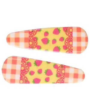 Fab N Funky Strawberry And Checks Print Snap Clips Multi Colour And Orange  - 1 Pair