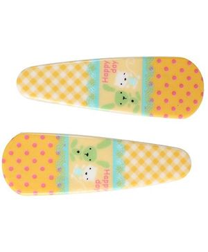 Fab N Funky Kitty And Rabbit Print Snap Clips Yellow - 1 Pair