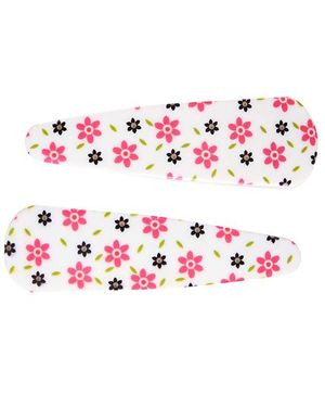 Fab N Funky Flower Print Snap Clips White - 1 Pair