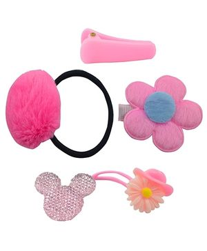 Angel Glitter Pink Princess Clips Combo Of 4