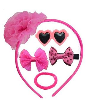 Angel Glitter Hair Accessories Combo Of  5 - Pink Heart
