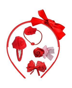 Angel Glitter Hair Accessories Combo Of  5 - Cute Red