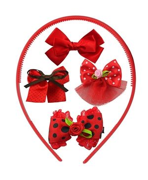 Angel Glitter Hair Accessories Combo Of  5 - Red Baby Bug