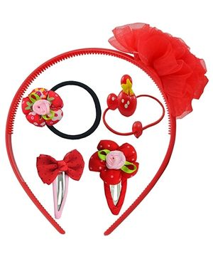 Angel Glitter Hair Accessories  Combo of 5 - Red Fairy