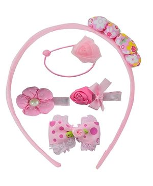 Angel Glitter Hair Accessories Combo of 5 - Pink Rose