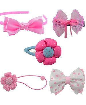 Angel Glitter Hair Accessories Combo of 5 - Little Pink