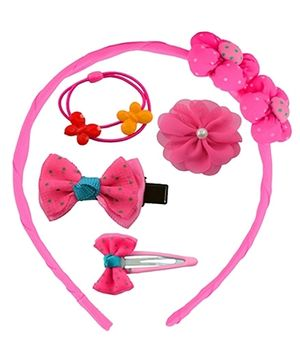 Angel Glitter Hair Accessories Combo of 5 Bunch Of Flowers - Pink
