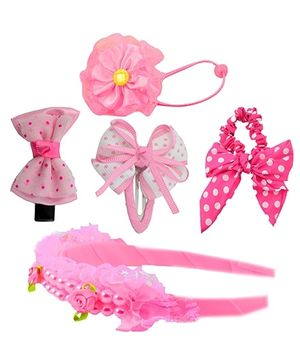 Angel Glitter Hair Accessories Combo of 5 - Pink Angel