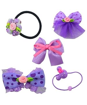 Angel Glitter Hair Accessories Combo of 5 - Daisy Purple