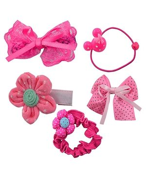 Angel Glitter Hair Accessories Combo of 5 - Pink Princess