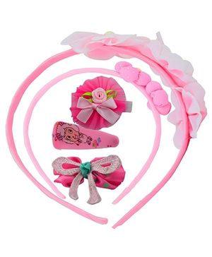 Angel Glitter Hair Accessories Combo of 5 - Pink