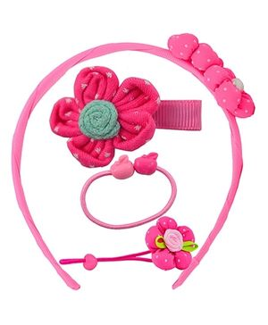 Angel Glitter Hair Accessories Combo of 5 - Dark Pink