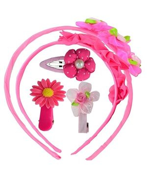 Angel Glitter Hair Accessories Combo of 5 - Neon Pink
