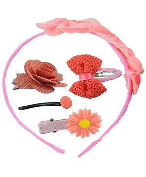 Angel Glitter Hair Accessories Combo of 5 Rose Baskets - Pink And Orange