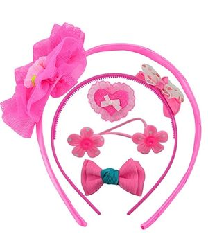 Angel Glitter Hair Accessories Combo of 5 Heart Of Love - Pink