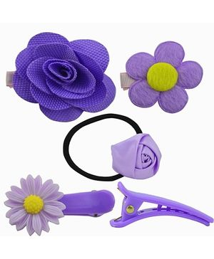 Angel Glitter Hair Accessories Combo of 5 - Purple Flowers