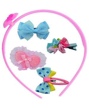 Angel Glitter Hair Accessories Combo of 5 Heart and Butterfly - Pink and Blue