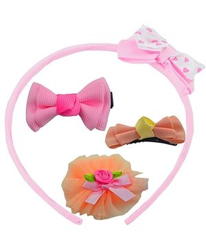 Angel Glitter Hair Accessories Combo of 4 - Peach flower