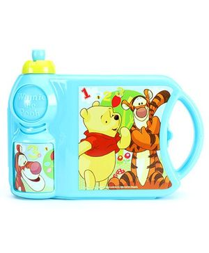 Winnie The Pooh Lunch Box With Attached Water Bottle - Blue