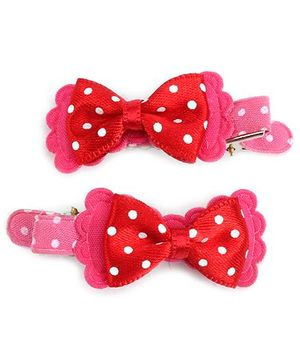Kids Studioz Baby Clip With Bow Applique Red And Pink - 1 Pair