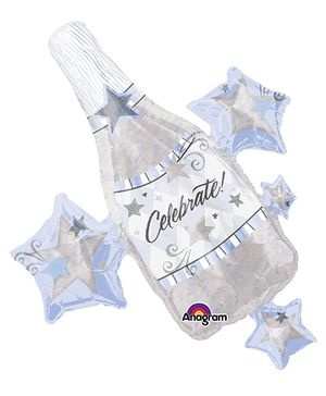 Wanna Party Champagne Balloon - Silver
