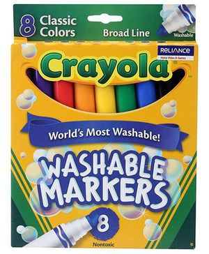 Crayola Washable Markers Broad Line - 8 Colours