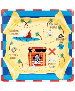 Wanna Party Square Plate Set of 8  - Plate Pirate Party