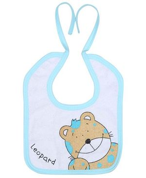Child World Bib Leopard Print - Sky Blue